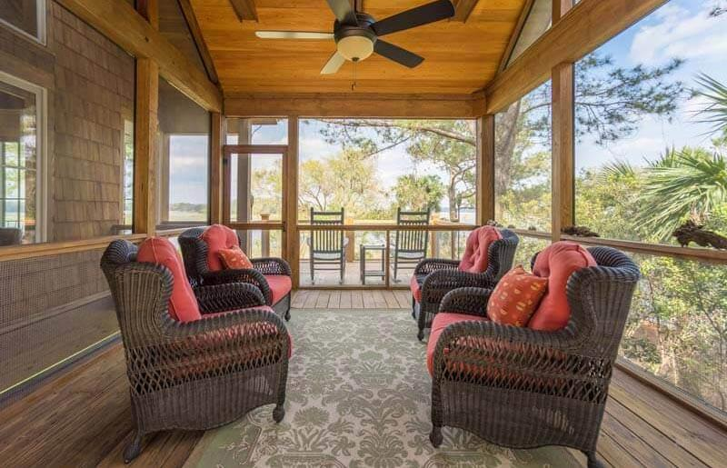 Wicker Chairs Screened Porch